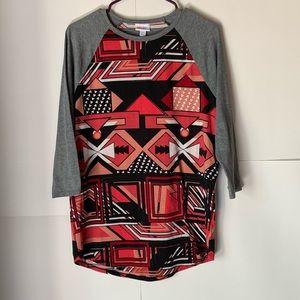 LuLaRoe Baseball Abstract Pattern Shirt